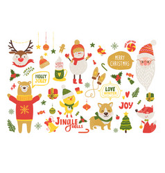 merry christmas poster with cute cartoon animals vector image vector image