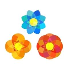 Set of geometry mandala flowers vector image vector image