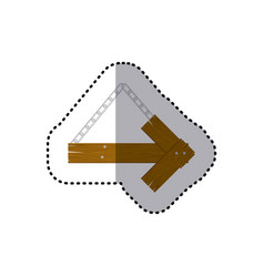 sticker arrow right shape wooden sign board with vector image vector image
