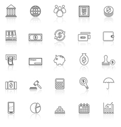 Banking line icons with reflect on white vector image