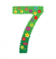 floral number 7 vector image vector image