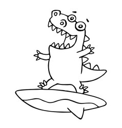 funny dragon surfer caught a wave vector image