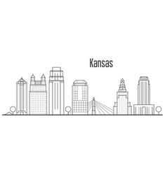 Kansas city skyline - downtown cityscape vector