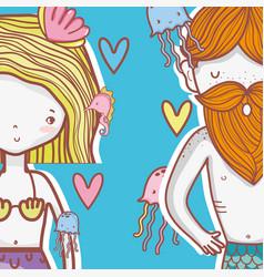 little mermaids cute cartoons vector image