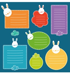 Set of tags with hand drawn easter bunny head and vector image