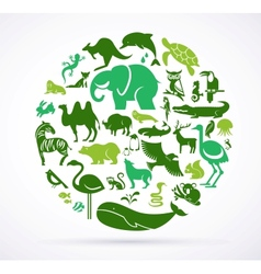 Animal green world - huge collection of icons vector image
