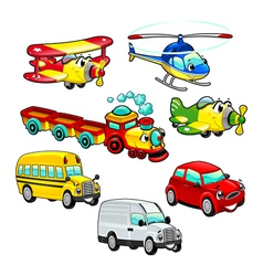 Funny vehicles vector image