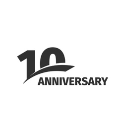 Isolated abstract black 10th anniversary logo on vector image