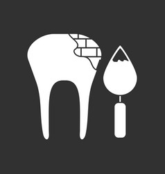 White icon on black background tooth with tool vector