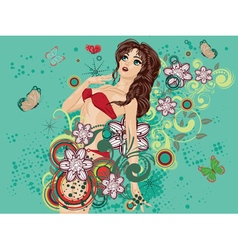 Bikini Girl on Green Background2 vector image