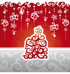 christmas card with abstract tree vector image