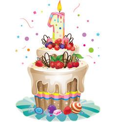 Happy Birthday cake 1 vector image vector image