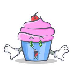 Money eye cupcake character cartoon style vector