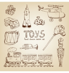 vintage hand drawn toys vector image vector image