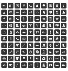 100 shoe icons set black vector