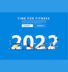2022 new year fitness ideas concept man workout vector