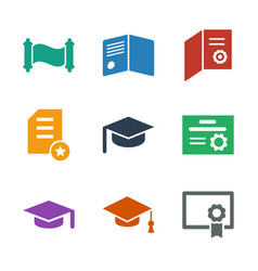 9 diploma icons vector