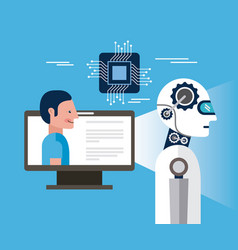 artificial intelligence computer person vector image