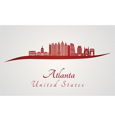 Atlanta V2 skyline in red vector