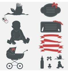 Baby shower set Silhouette design elements vector image