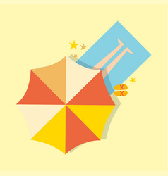 Beach top view with umbrella bright towel holiday vector
