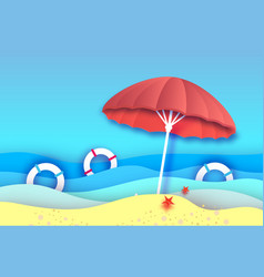 Beach umbrella -red parasol in paper cut style vector