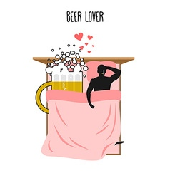 Beer lover Beer mug and man Lovers in bed top view vector image
