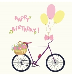 Bicycle with basket flowers and balloons vector image vector image