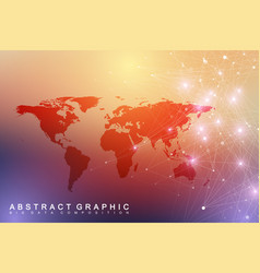 Big data visualization with a world map abstract vector