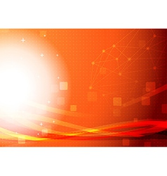 Bright orange networking light wave background vector image
