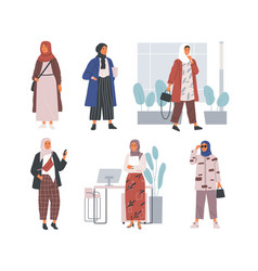 bundle modern young muslim women wearing trendy vector image