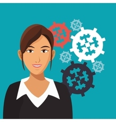 Business woman gears work cooperation vector