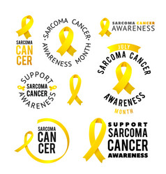 calligraphy logo set yellow awareness vector image