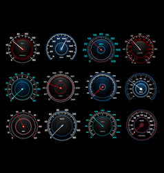 Car dashboard speedometer indicators set vector