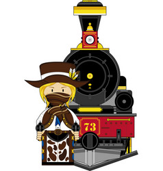 Cartoon cowgirl sheriff and train vector
