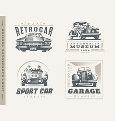 Classic cars on light background vector