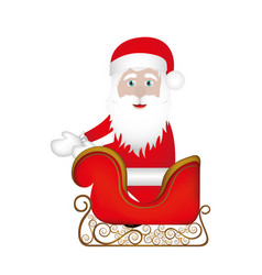 colorful silhouette of santa claus in sleigh vector image