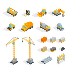 construction signs 3d icons set isometric view vector image