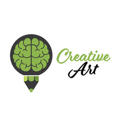 creative art brain pencil design logo template vector image