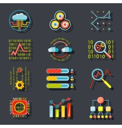 Data Analytic Web Site Server Icons on Stylish vector image