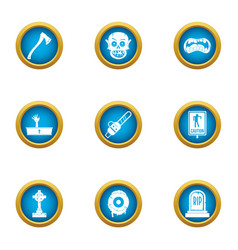 Deadly party icons set flat style vector