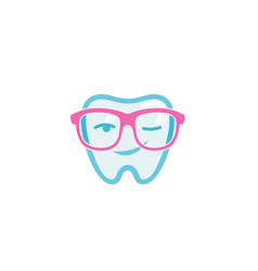Dental geek glasses blink teeth logo vector