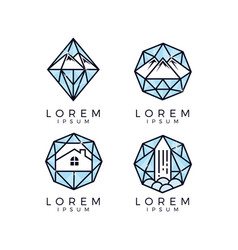 diamond glass logo set vector image