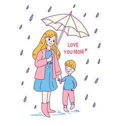Doodle kawaii style cute woman mother vector
