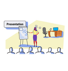 elegant woman speaker pointing financial graph on vector image