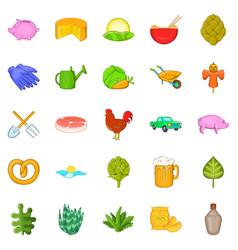farm harvest icons set cartoon style vector image
