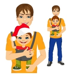 father holding little boy with baby carrier vector image