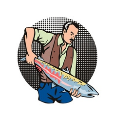 Fisherman salmon fish retro vector