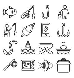 fishing icons set on white background line style vector image