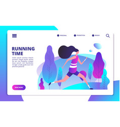 fitness landing page sporty girl running in vector image